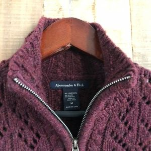 Abercrombie & Fitch Burgundy Zip Sweater
